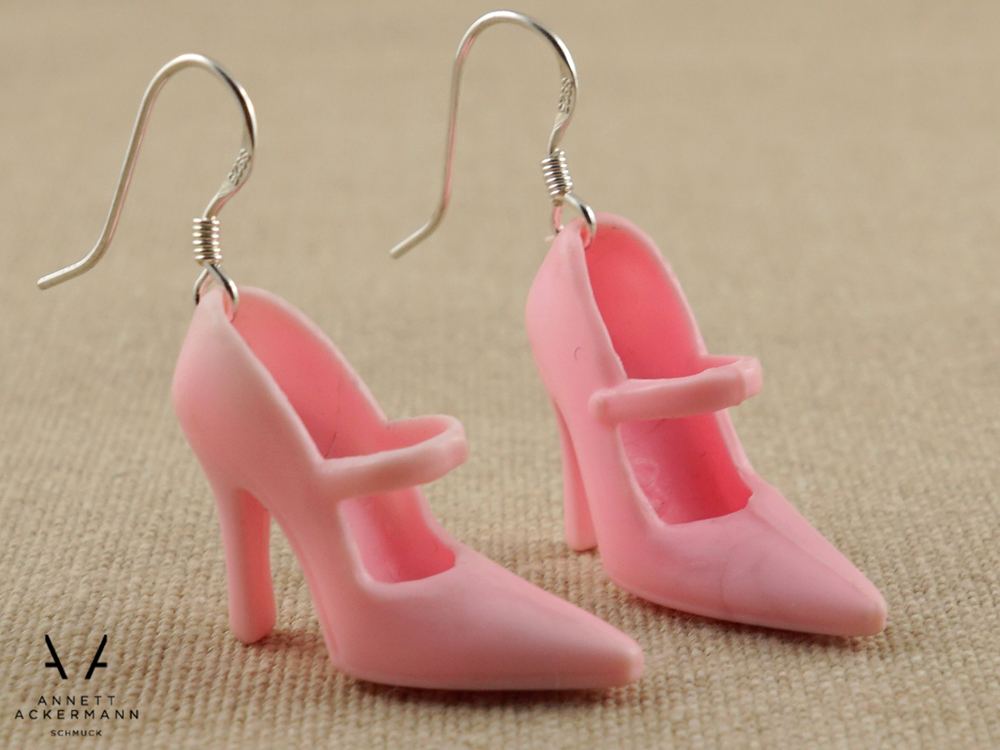 Puppen-Schühchen // Ohrringe // rosa Pumps