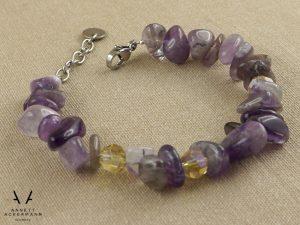 Amélie // Armband mit Amethyst und gelben Glasperlen