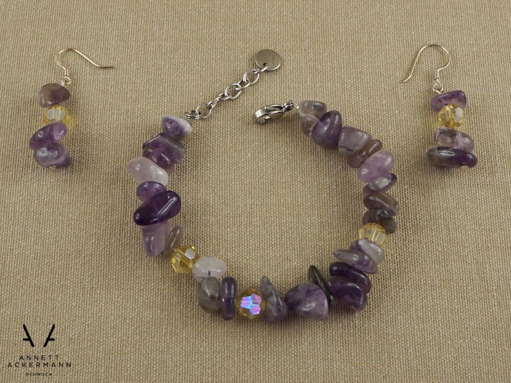 Amélie // Set aus Ohrringen und Armband mit Amethyst und gelben Glasperlen