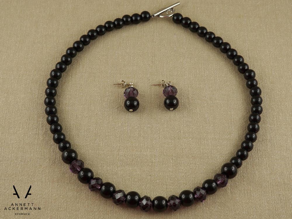 Schwarz Lila Set aus Kette und Ohrringe